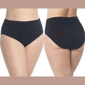 NEW $82 Magicsuit Ruched Bikini Bottoms 16W Black